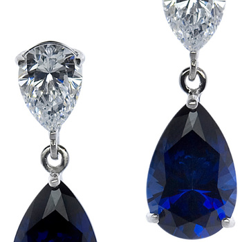 CARAT* London Pear-Shape Sapphire Drops in 9K White Gold