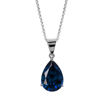 CARAT* London Pear-Shape Sapphire Pendant in 9K White Gold