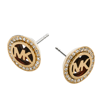 Michael Kors LOGO Pavé Gold-Tone Earrings